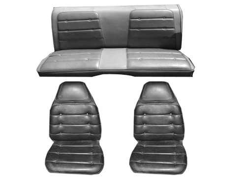 7721-BUK 1974 Roadrunner Front Bucket Seat Cover Set Black