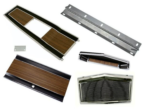 131-70SET Mopar 1969-70 B-body Woodgrain 4 Speed Console Plate Kit