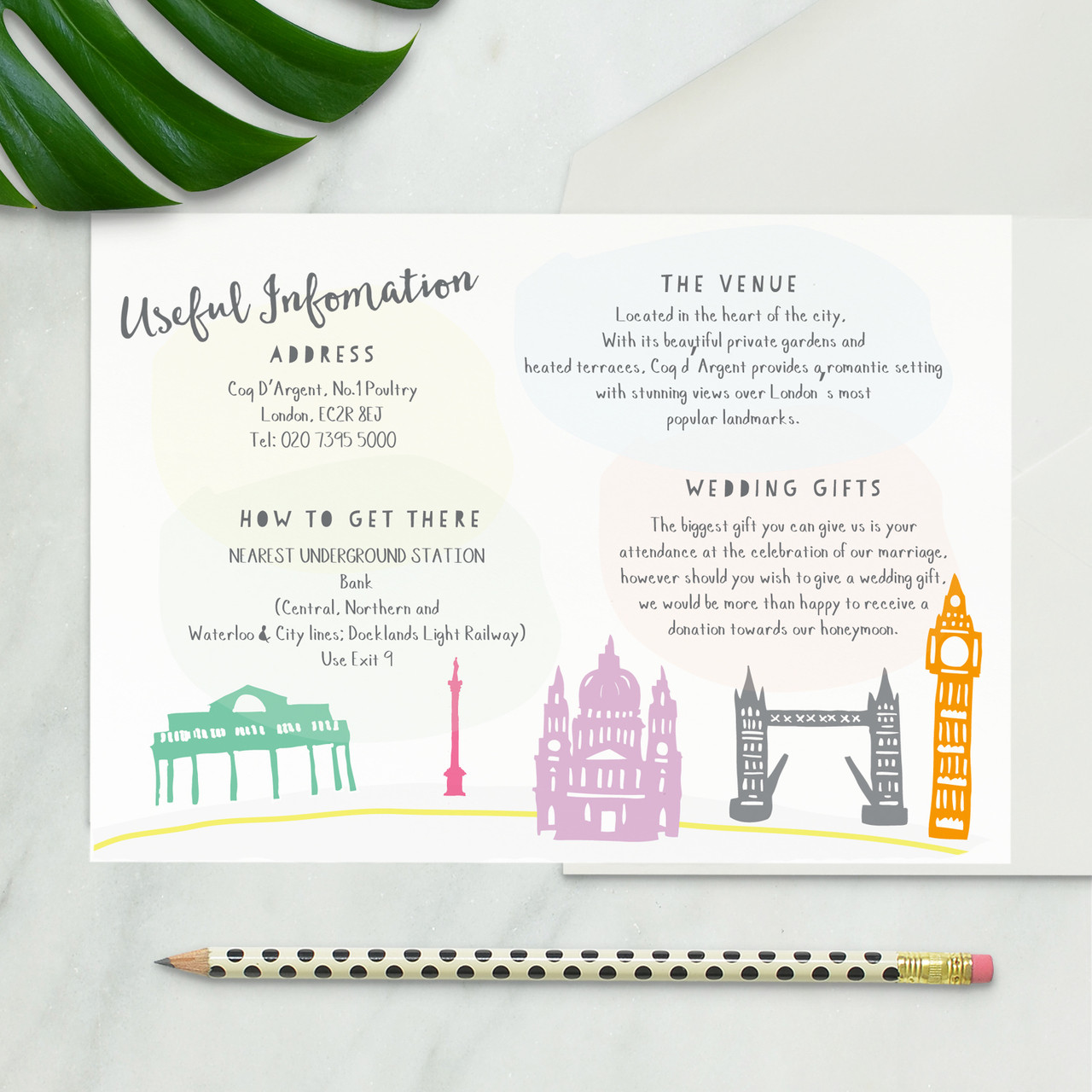London Wedding Information Card