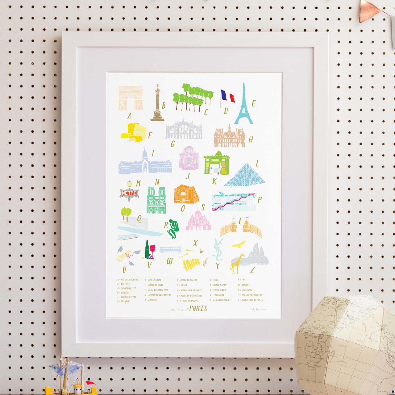 Greatest A-Z of Paris Alphabet Art Print (Various Sizes) - Holly Francesca JO13