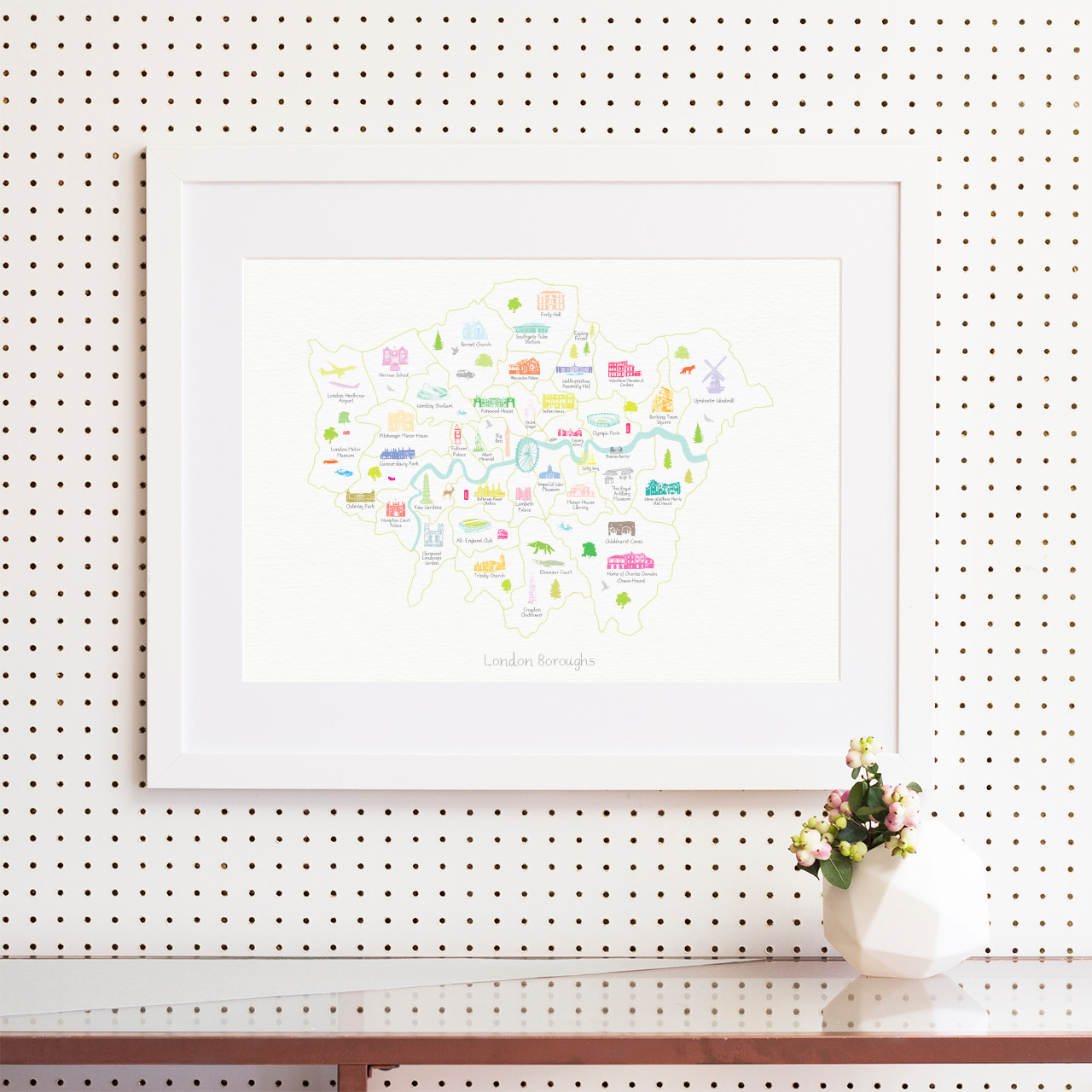 Map of the London Boroughs Art Print (Various Sizes) - Holly Francesca