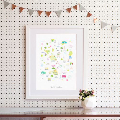 Map of North London Art Print (Various Sizes) - Holly Francesca