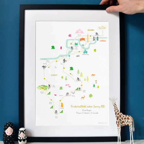 RideLondon-Surrey 46 & 100 Route Map Art Print (Personalisation included)
