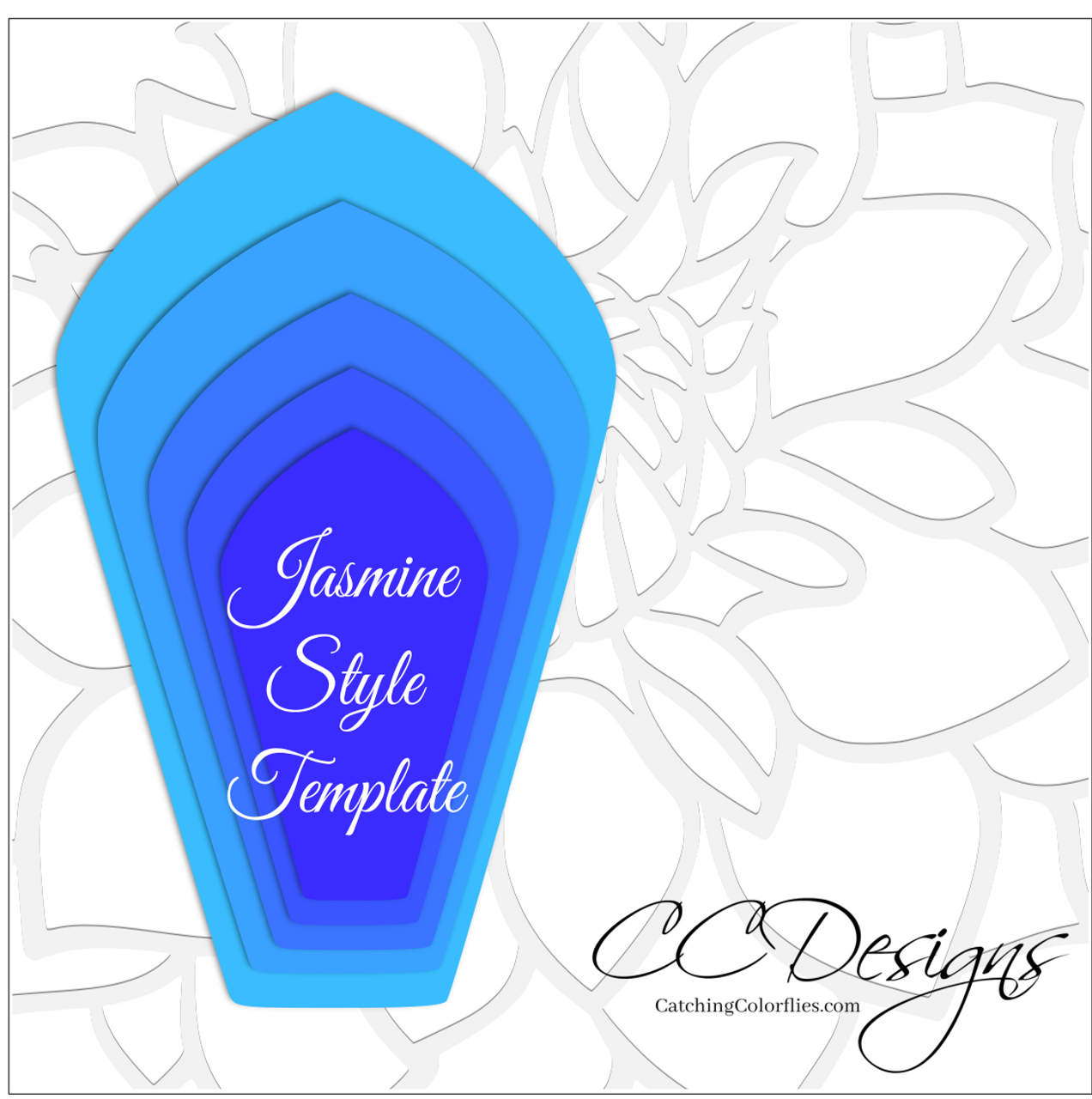 Set of 4 giant flower templates catching colorflies for Jasmine star email templates