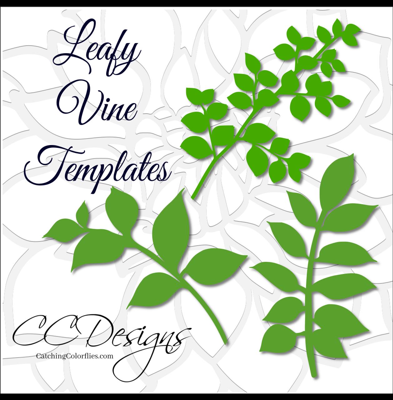leafy vine set leaf svg template catching colorlfies