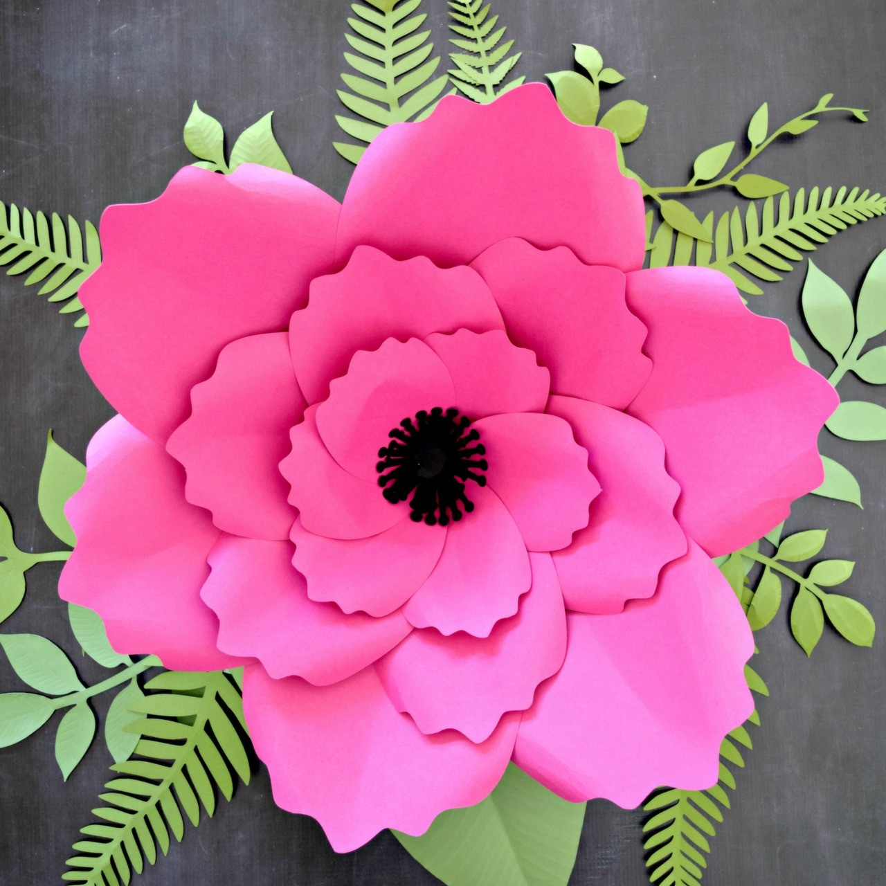Giant Anemone Paper Flower Template With Poppy Center Catching