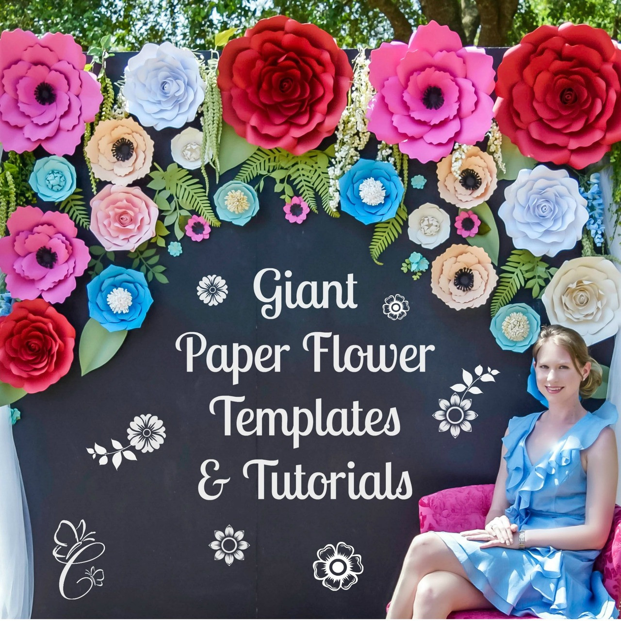 Giant paper flowers paper rose templates set of 5 catching colorflies mightylinksfo
