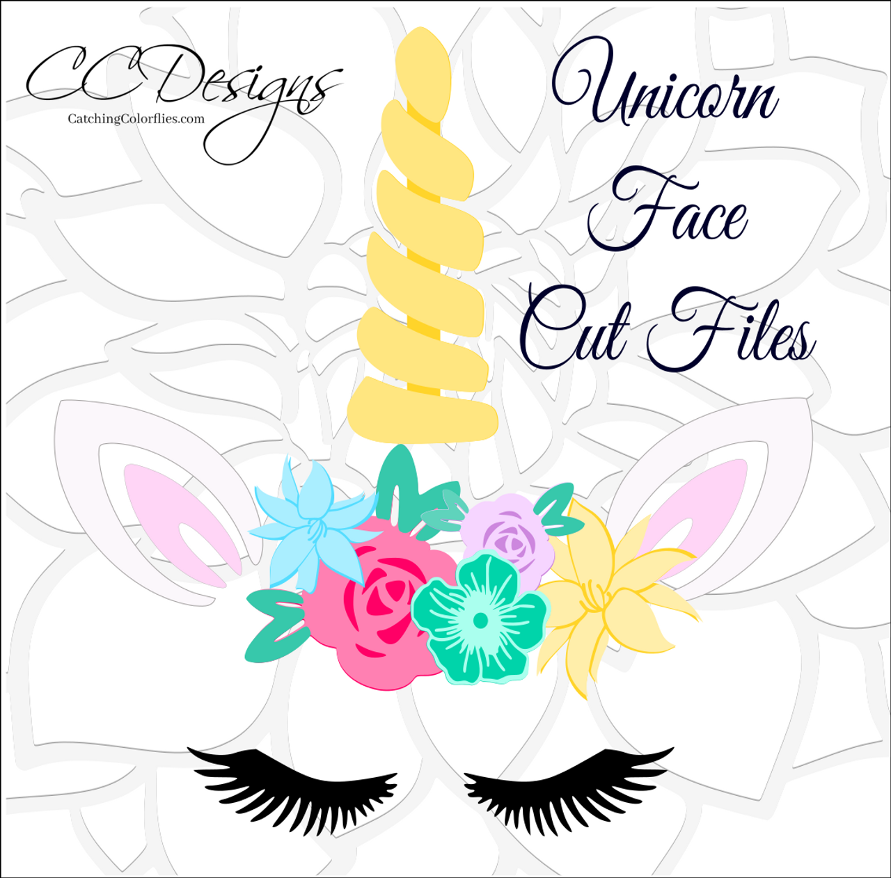 unicorn horn and face svg cut file set catching colorflies