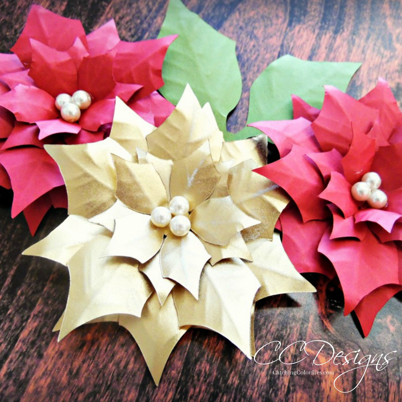 Small poinsettia paper flower diy template catching colorlfies mightylinksfo