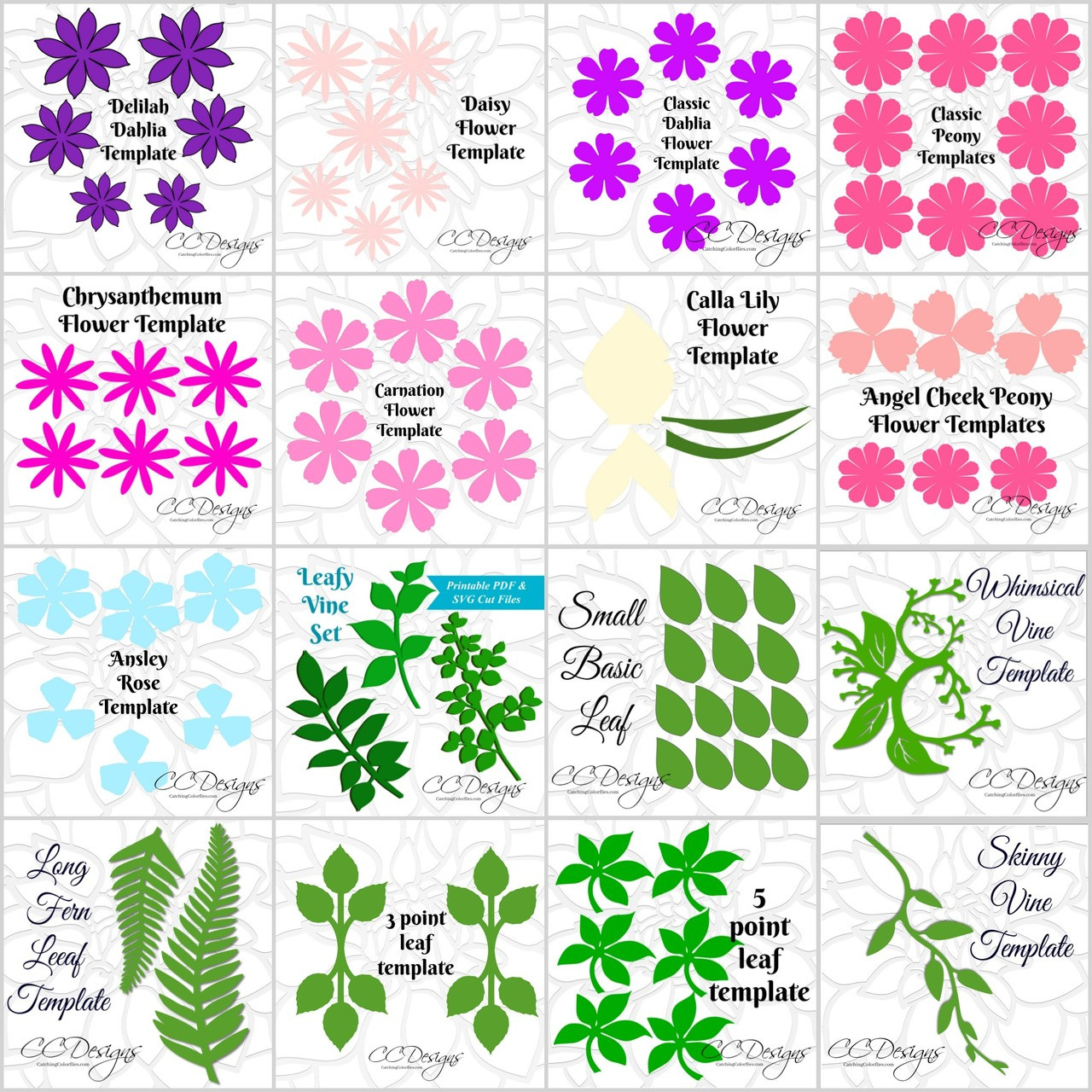 digital download small paper flower templates