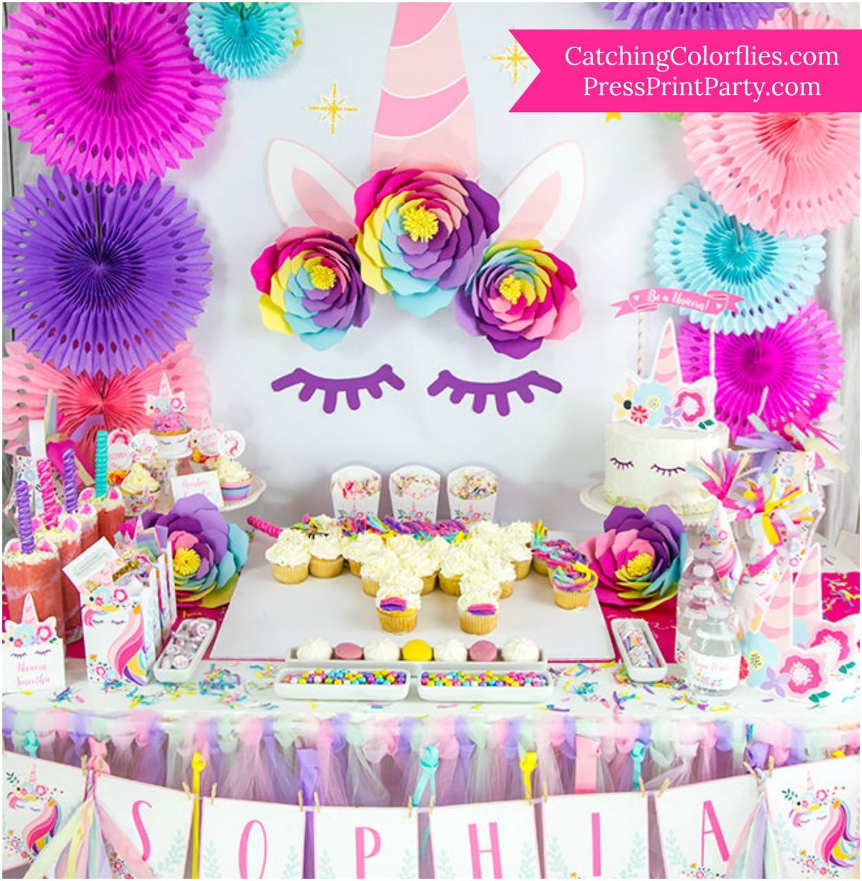 Rainbow unicorn paper flower templates catching colorlfies izmirmasajfo Gallery