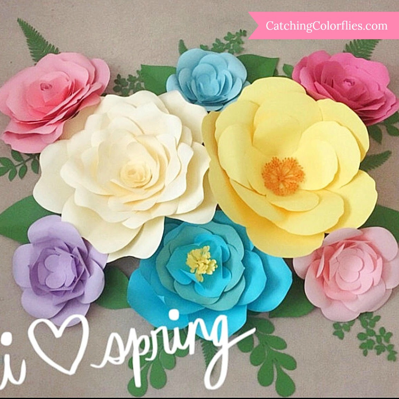 Springtime Set Of Large Paper Flower Templates Catching Colorflies