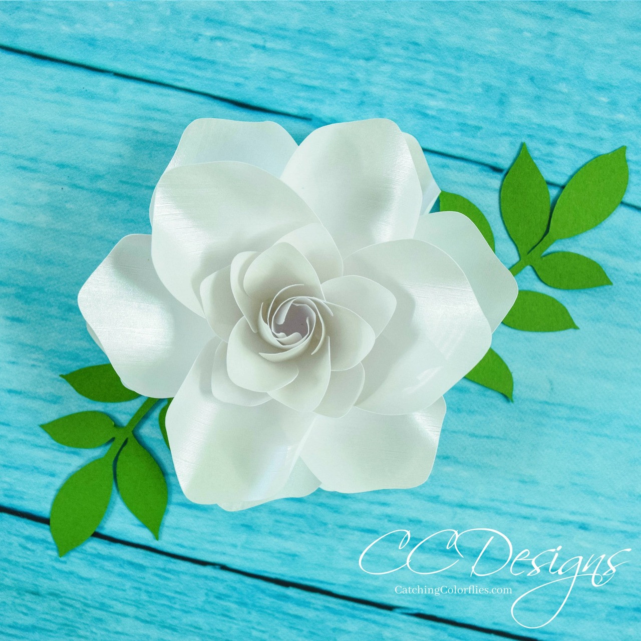Small Gardenia Paper Flower Template Catching Colorflies