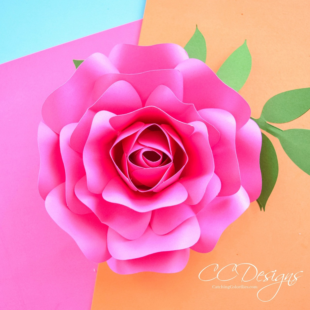 Large and small paper rose templates set of 3 catching colorflies digital download mightylinksfo