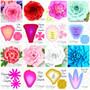 Left to right: Eden rose, Majesty rose, Peony, Regina rose, Chrysanthemum, Rosie rose, Sybelle rose, Giselle styles.