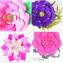Set of 4 Large Flower Templates - Paper Flower Patterns- PDF and SVG