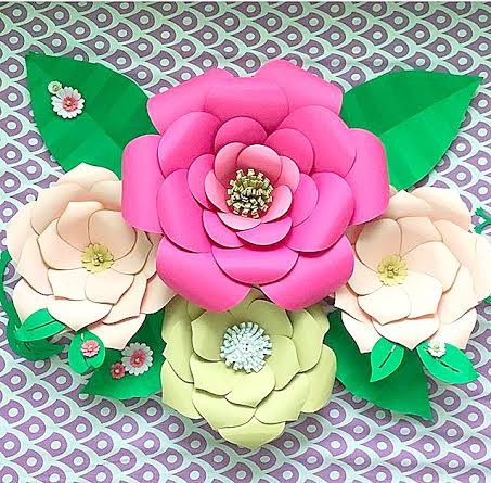 Set of 2 paper flower templates everly priscilla style catching digital download set of 2 paper flower templates mightylinksfo