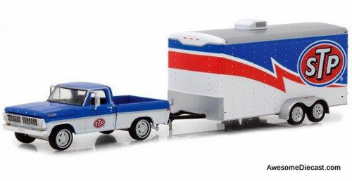 GreenLight 1:64 1970 Ford F-100 and Enclosed Car Trailer - STP Racinig
