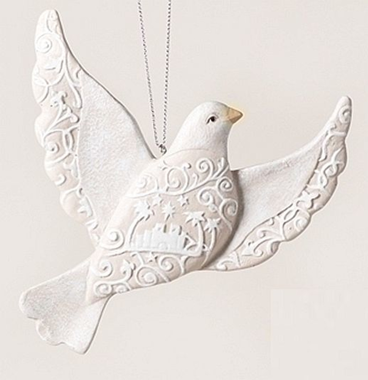 Dove Christmas Ornament in Beige & White with Bethlehem in design Resin  measure 5 inches RO33904A - Dove Christmas Ornament Beige & White Bethlehem Resin 5