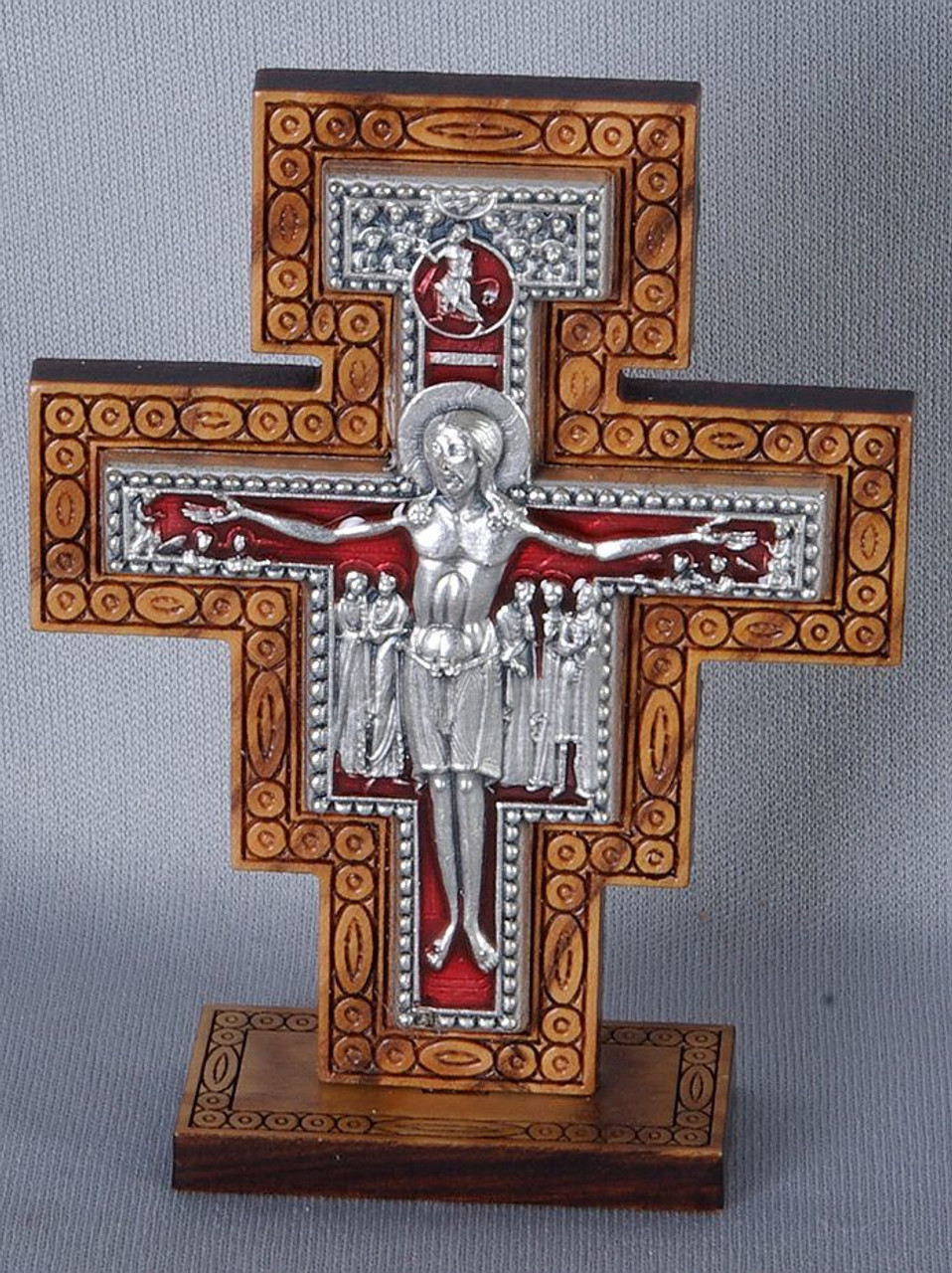 San Damiano Crucifix Tabletop Style Wood With Pewter Red Inlaid Accent Made  In Italy 2 And
