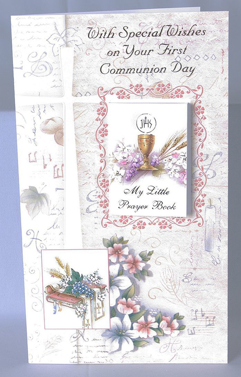 First communion greeting card removable prayer book blessed first communion greeting card front features blessed sacrament with removable prayer book measures 4 by 6 m4hsunfo