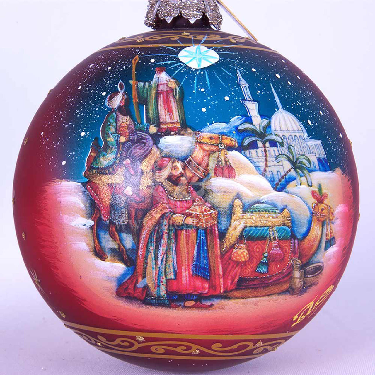 Baptism Ornament Round Glass: Wise Men Christmas Ornament