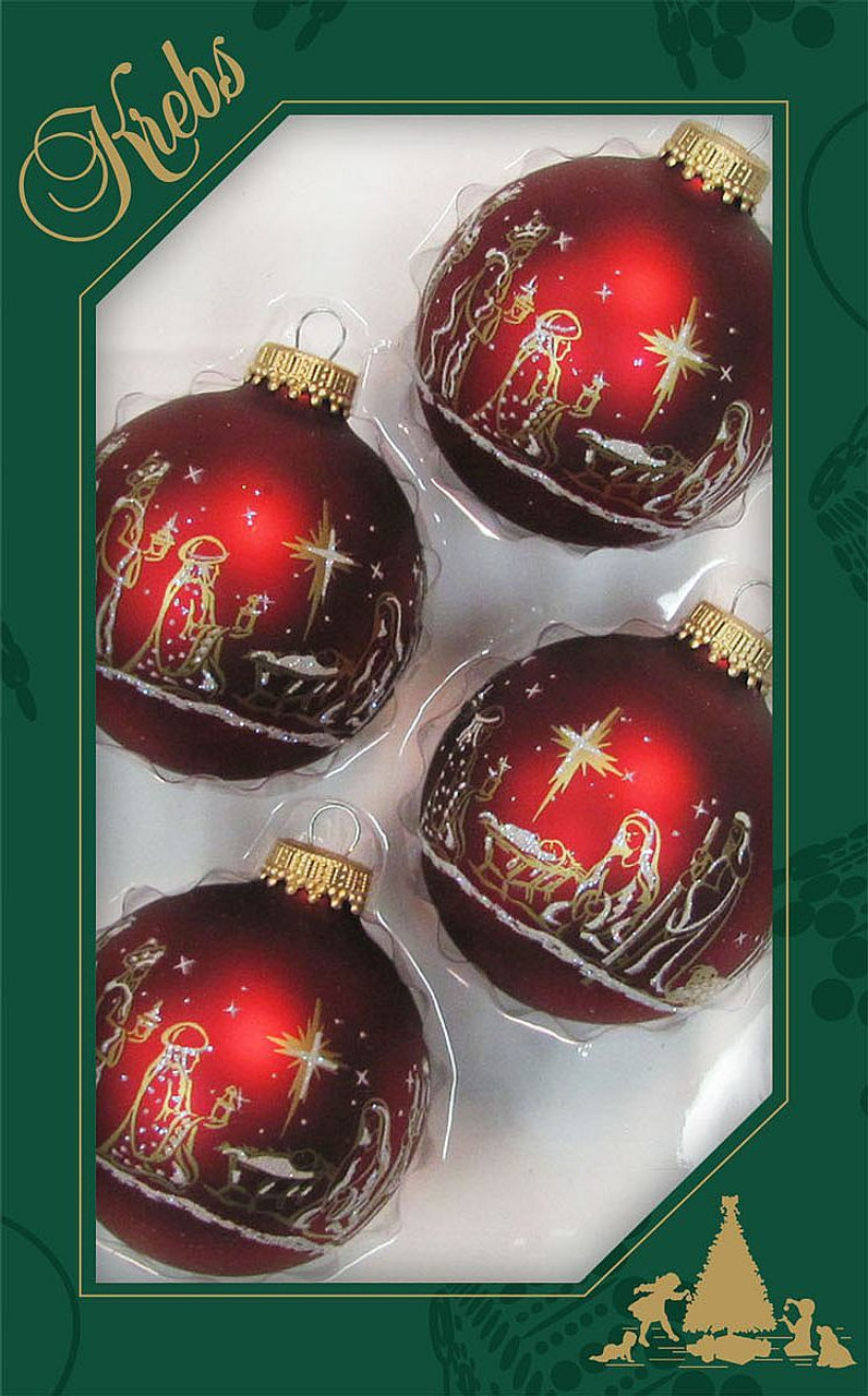 nativity christmas ornament red globe with gold silver glitter 2 and 5 eighths inches set