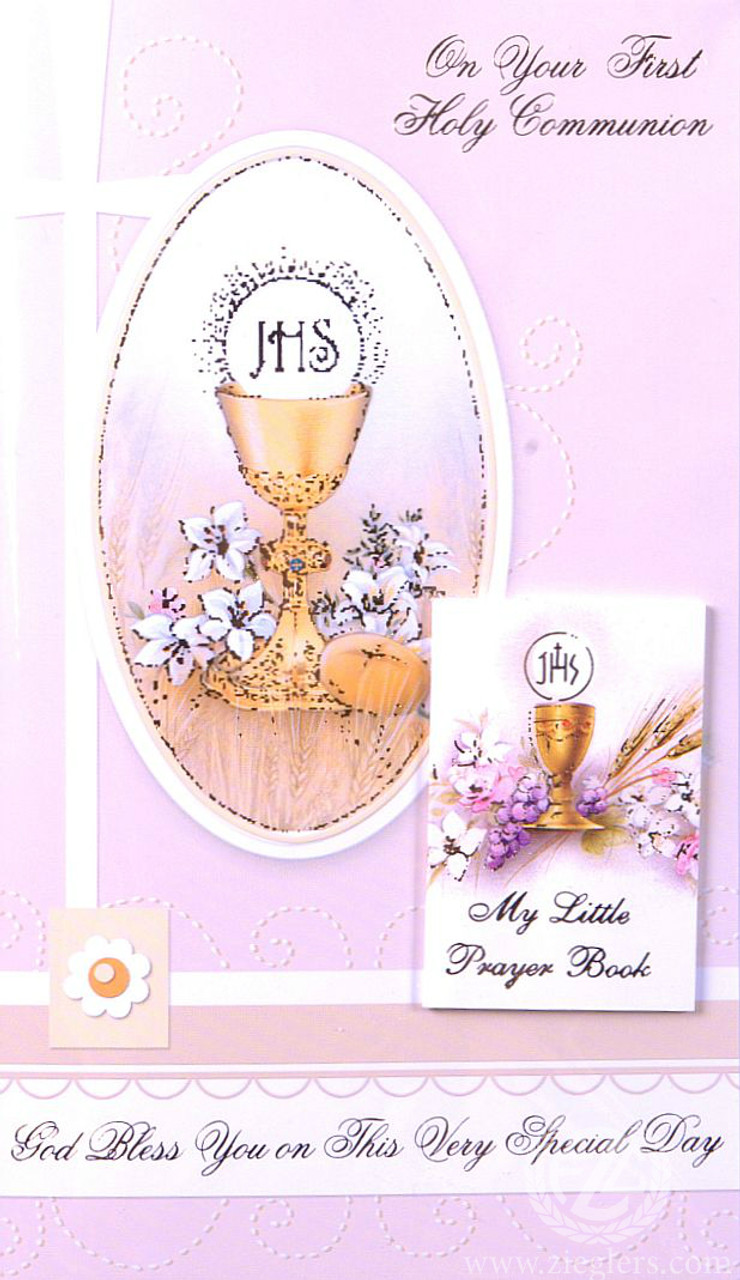 First communion greeting card removable prayer book girl first communion greeting card removable prayer book girl blessed sacrament italy m4hsunfo