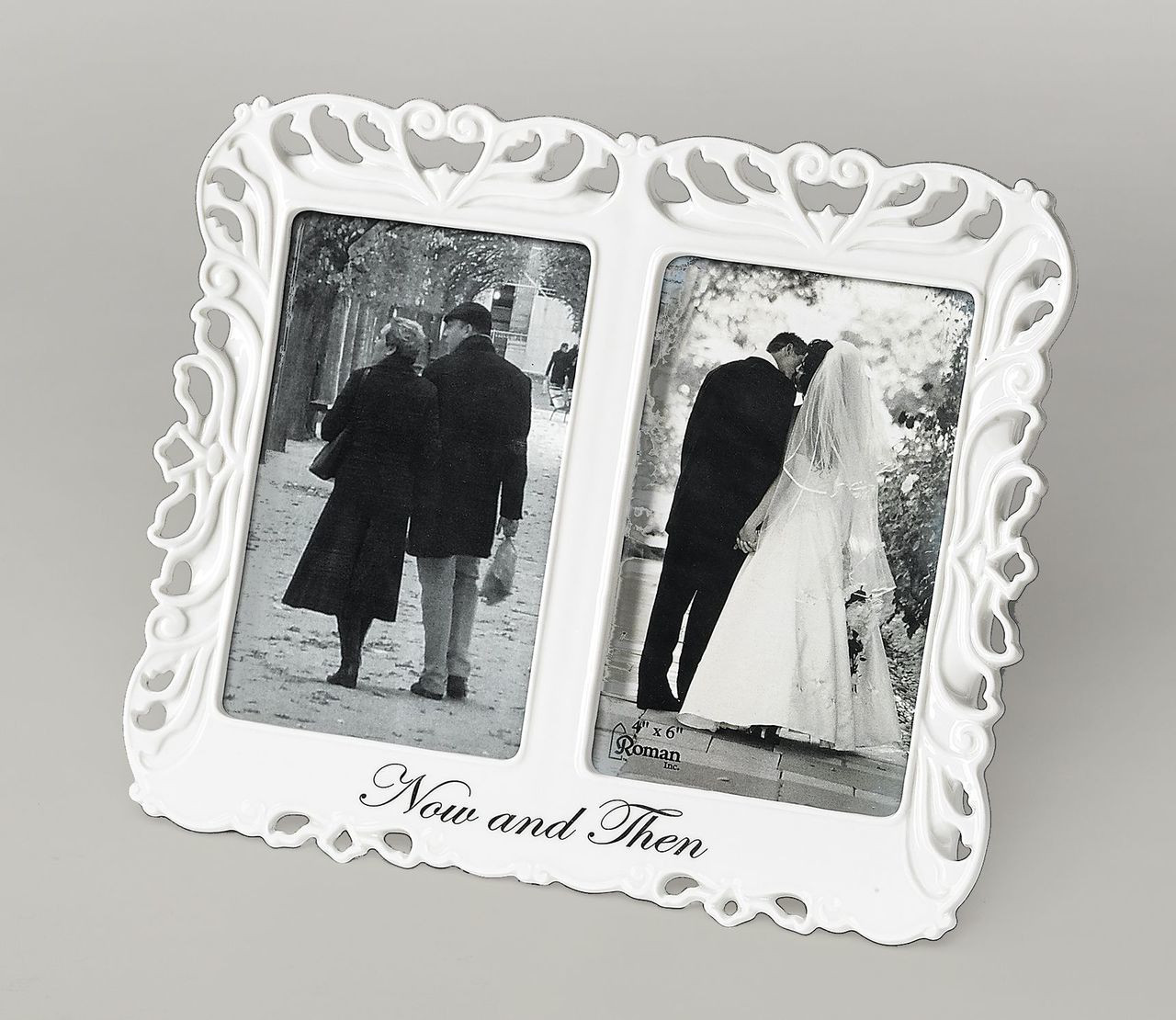 Now and Then   White Frame     Holds Two 4\