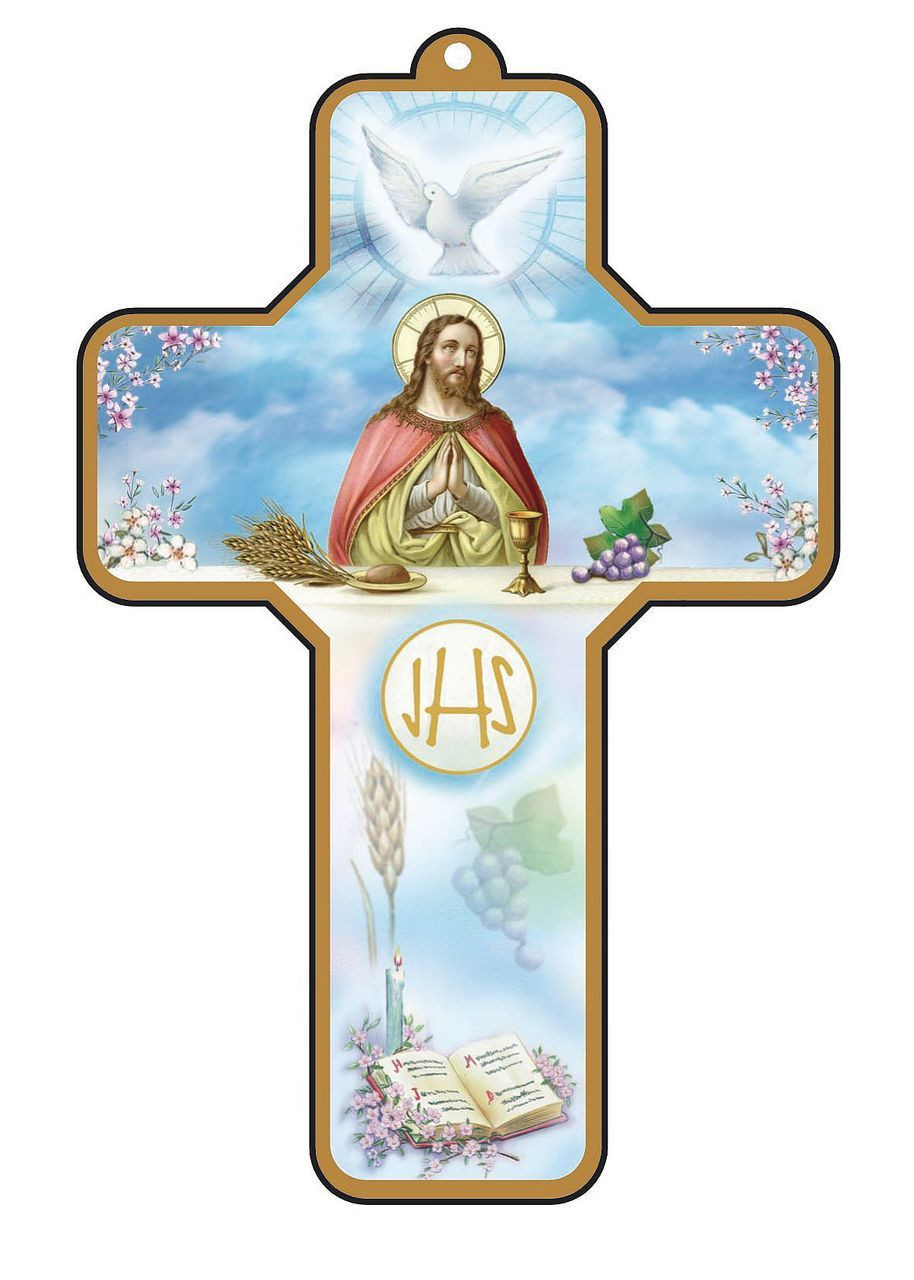 First Holy Communion Keepsake Cross Blue With Gold Rim Christ