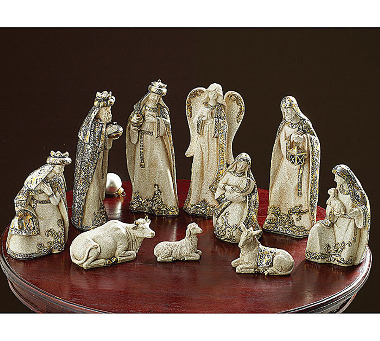 10 Piece Modern Nativity Set | Stone Look | Ivory Gold ...