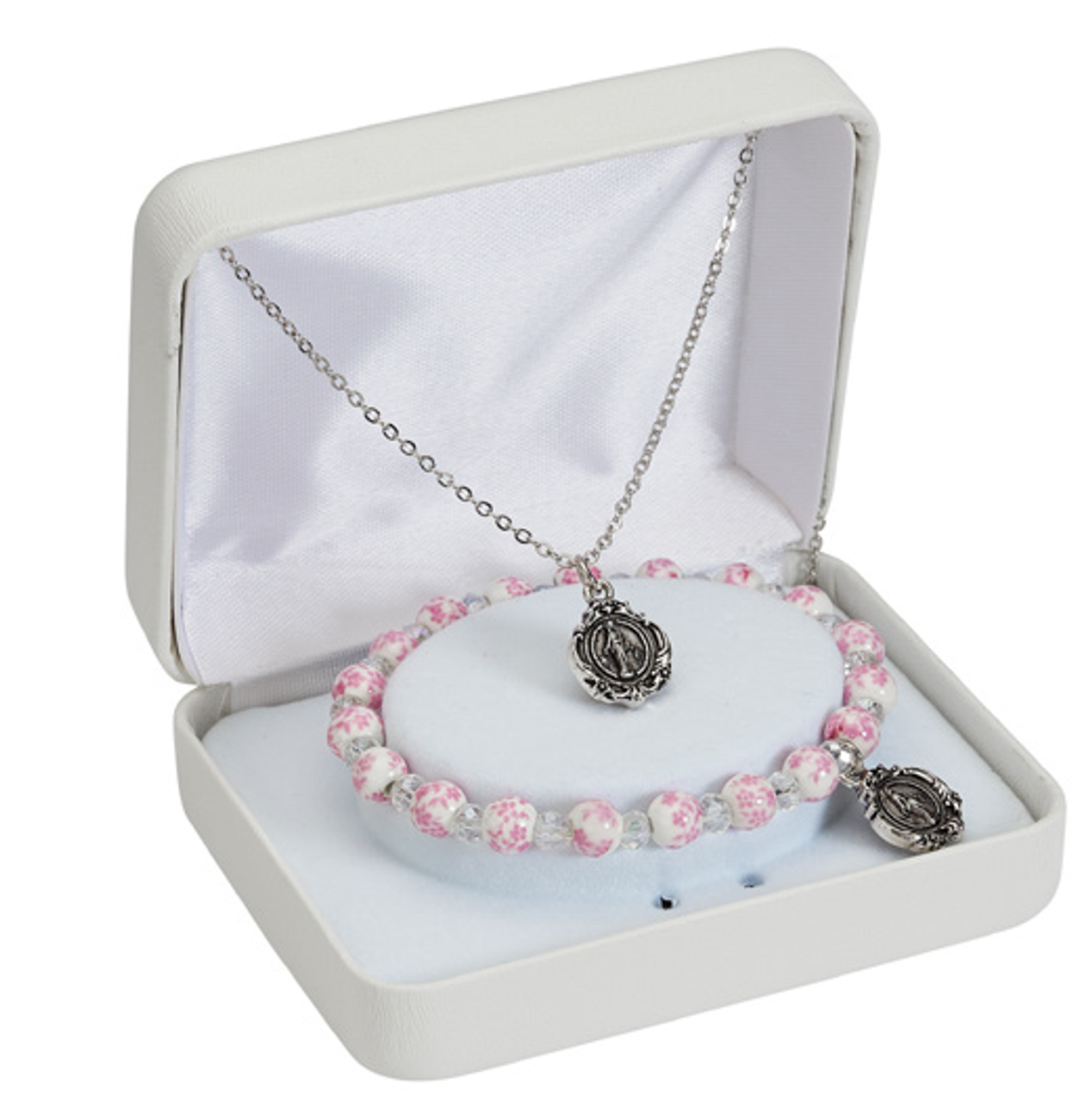 Miraculous Medal Set Necklace Bracelet Pink Ceramic Beads