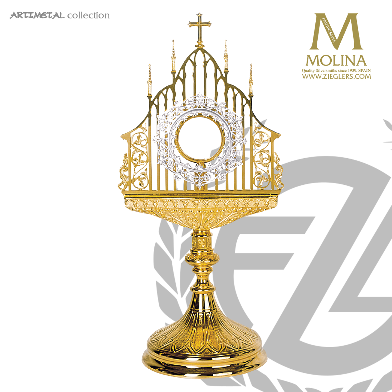 monstrance 21 3 4 gothic style open work filigree 5580 spain