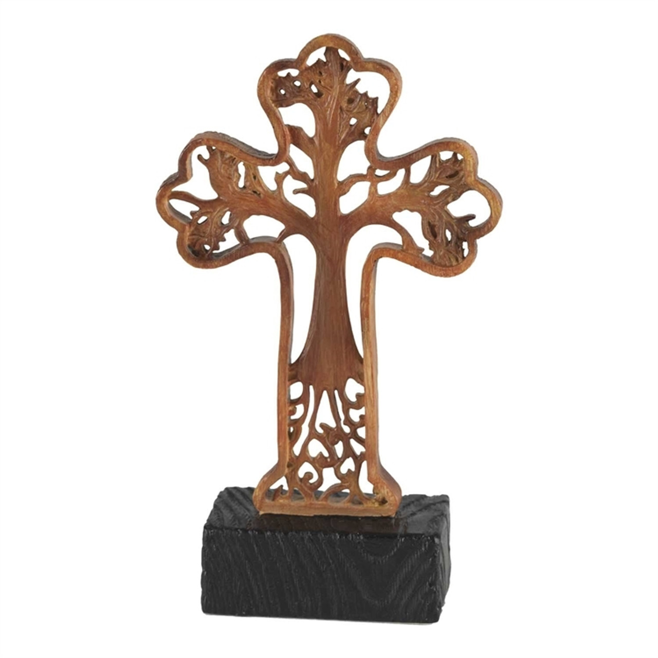 Tree Of Life Tabletop Cross In Resin With A Wood Toned Finish Height 6  Inches TTCR312