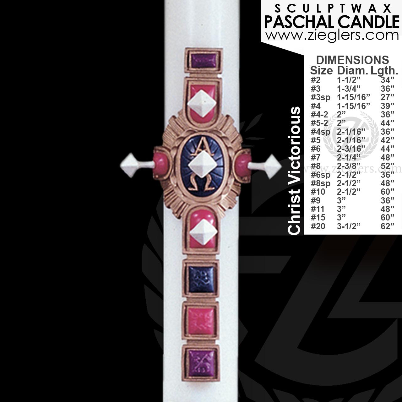 Paschal Candle Christ Victorious Sculptwax 18 Sizes Wax Cross