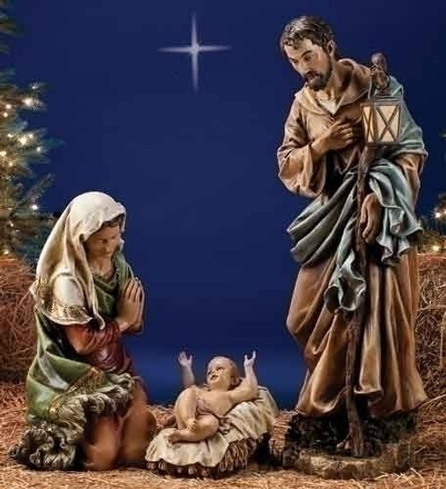 """Holy Family Admires Jesus Nativity Religious Christmas: Series 39"""" Colored"""