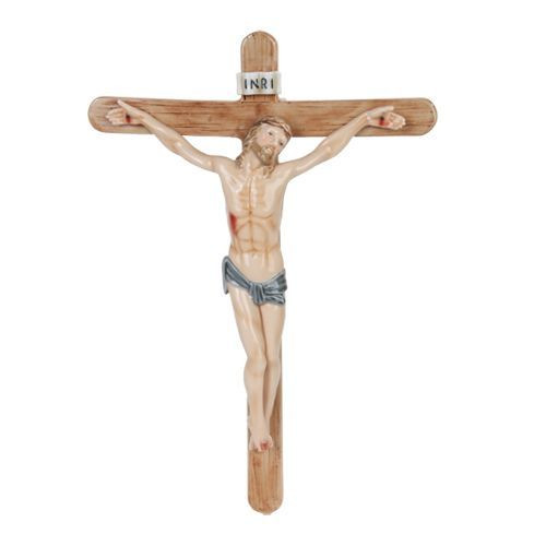 Wall Crucifix Muted Colors Rounded Cross Porcelain 12 X 8 1