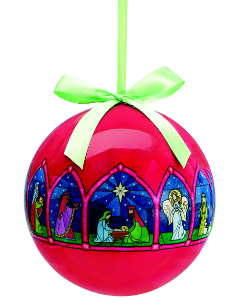 nativity christmas ornament red globe with stained glass look art and green accent ribbon polyfoam 5