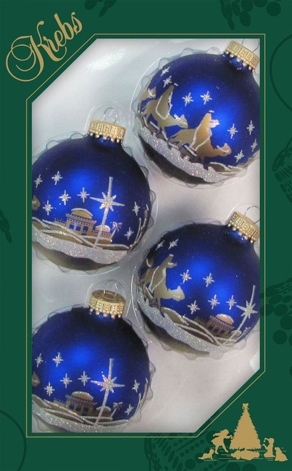 three kings christmas ornaments in royal blue and gold with frosted snow glitter accents measure 2 - Royal Blue And Gold Christmas Decorations