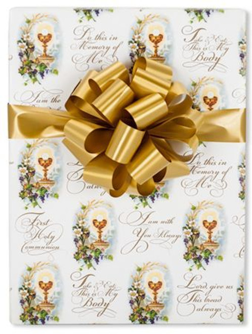 appropriate gift for first communion catholic first communion gift wrap with blessed sacrament scripture and floral accents measures 24 inches by 10 24