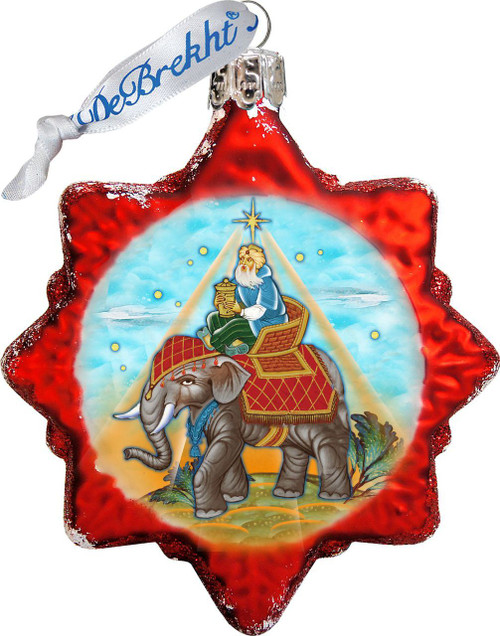 king gaspar christmas ornament hand painted glass red star made in usa 3 and 1
