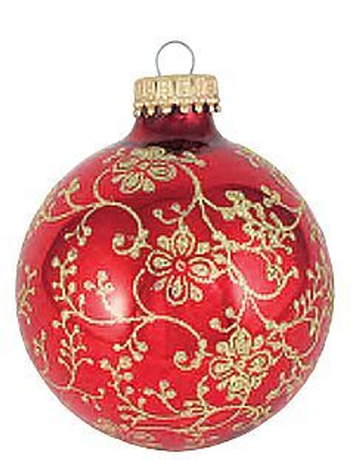 floral christmas ornament red with gold glitter 2 58 set of 4 - Red And Silver Christmas Ornaments