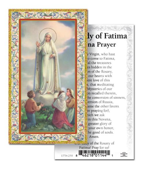 our lady of fatima prayer card novena box of 100 italy f c
