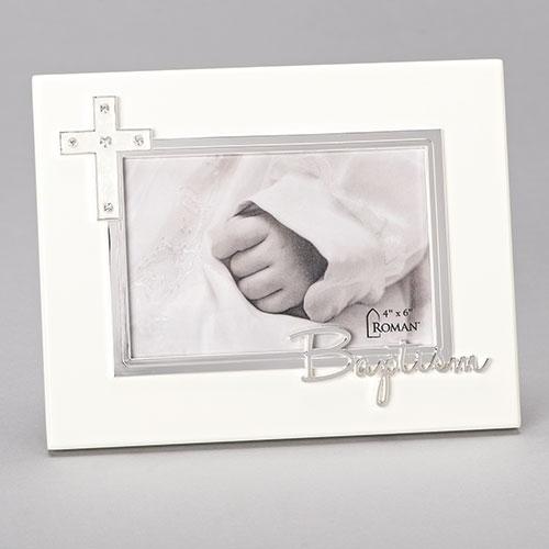 Baptism Frame | Rhinestone Accented Cross | 4\