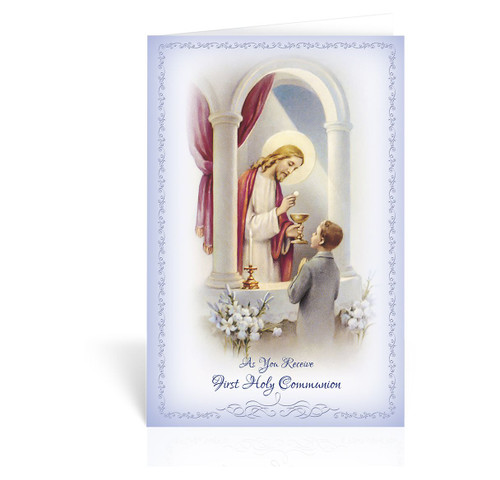 First communion greeting cards zieglers first communion greeting card boy christ and girl pink c9210 m4hsunfo