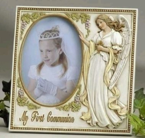 Guardian Angel My First Communion Frame Beaded Edge 3 12 X 5