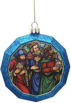 Three Wise Men Christmas Ornament Blue Glass Glitter
