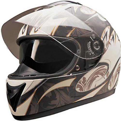 b73965a4 HCI 77 White Matte Golden Double Visor Helmet | XtremeHelmets.com