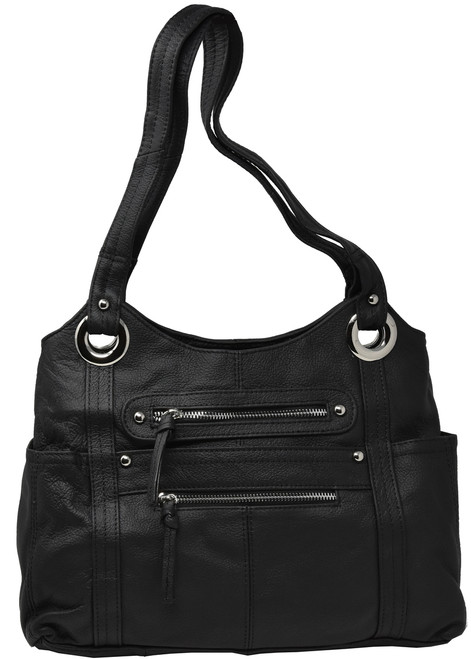 Black Shoulder Carry Leather Locking Concealment Purse - 2- CCW Concealed Carry Gun Bag