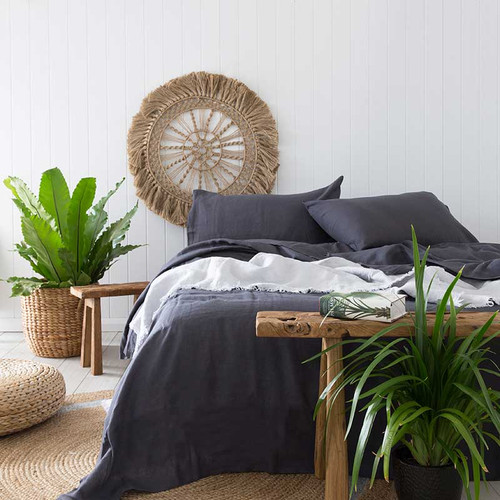 French Linen Quilt Cover Set by Bambury|Charcoal